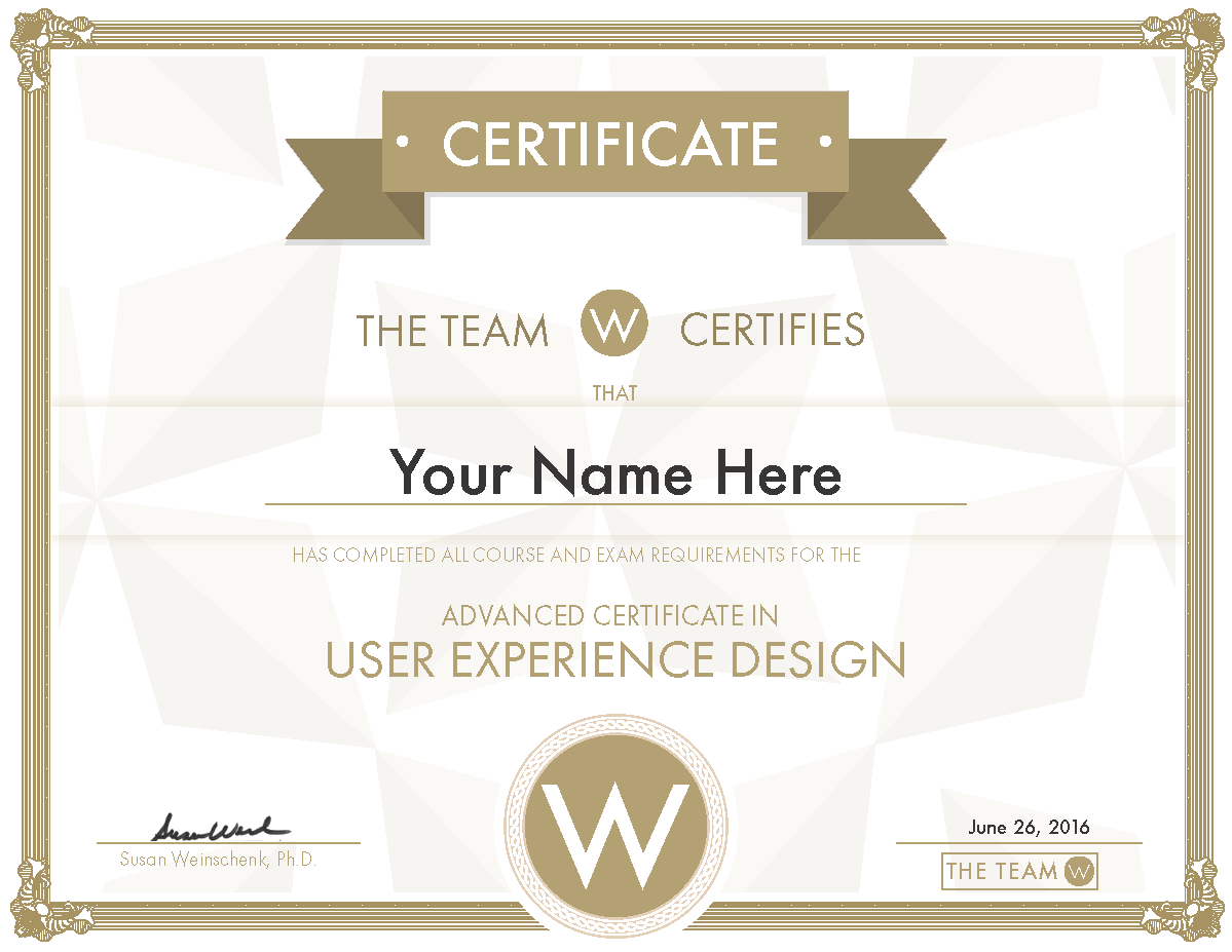 Advanced User Experience (UX) Certificate
