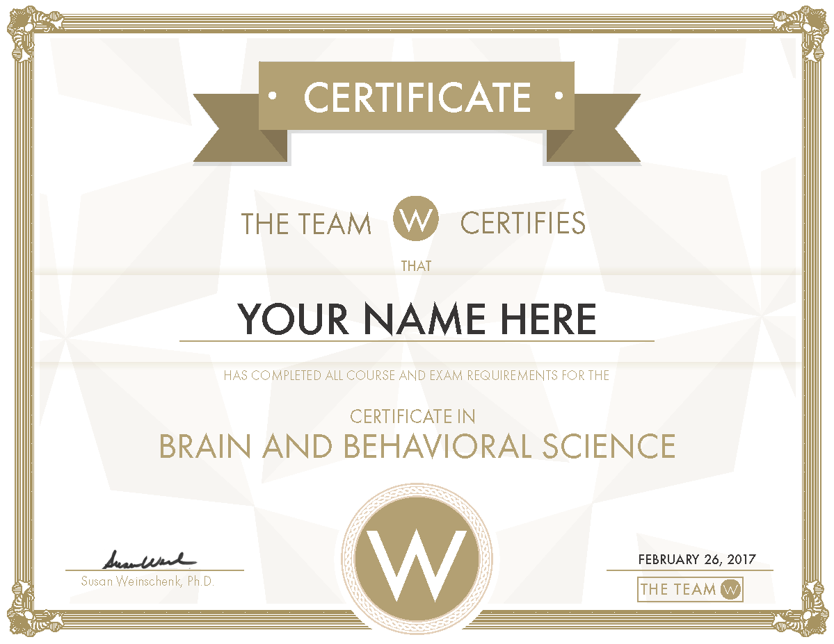 Brain and Behavioral Science Certificate
