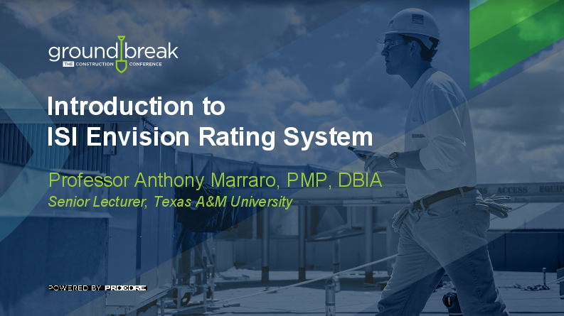 On-Demand GB2017: Introduction to ISI Envision Rating System