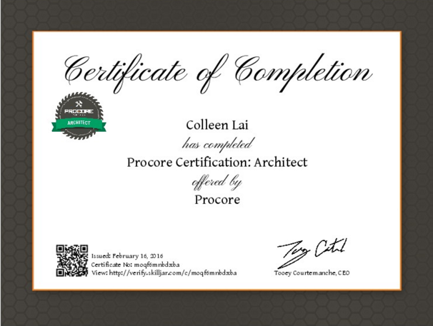 Procore certification architect for Certified architect